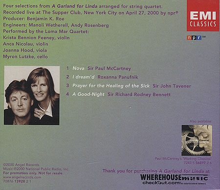 A Garland for Linda Selections CD- back cover