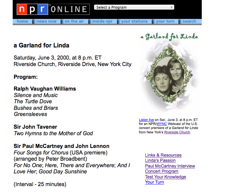 Paul McCartney Garland for Linda Live Broadcast Program - PT I