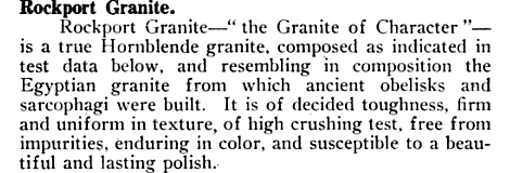 Description of Rockport Granite, taken from Sweet's Catalogue of Building Construction, 1915